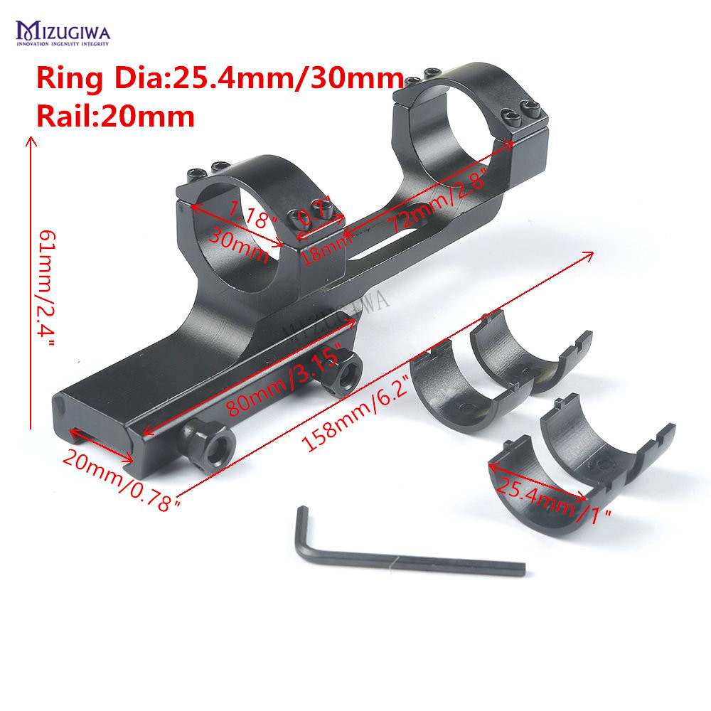 Tático Escopo Montagem Resistente Plana Superior Cantilever Offset 25.4mm 1 30mm Anel 20mm Picatinny Trilho Adaptador Laser ar 15 qd