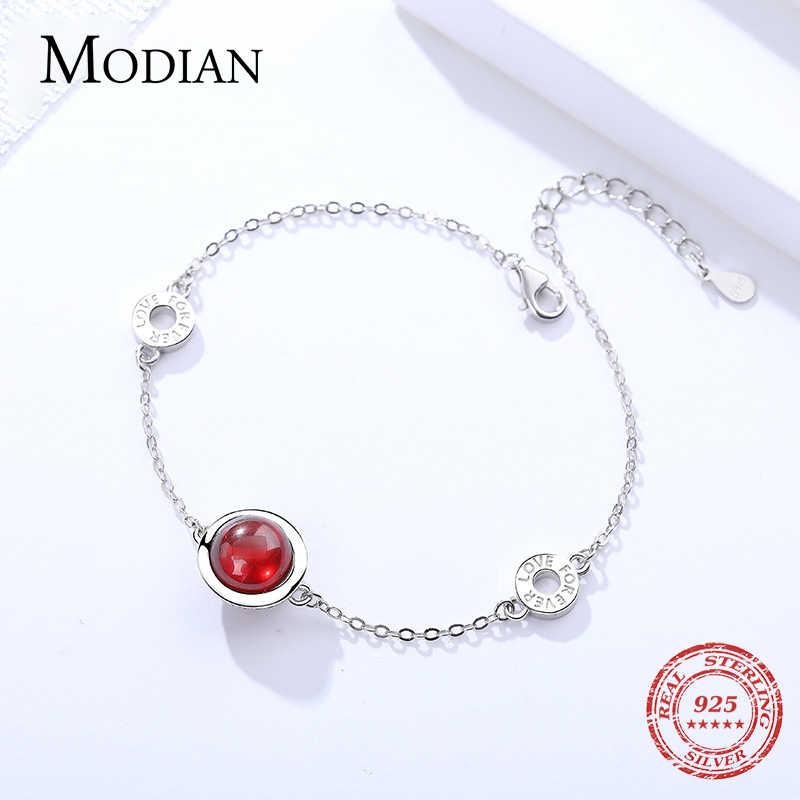 Modian الفاخرة 100% 925 الاسترليني الفضة الأصلي الأحمر و الأبيض واضح أوبال سلسلة سوار للنساء سحر الأزياء غرامة مجوهرات
