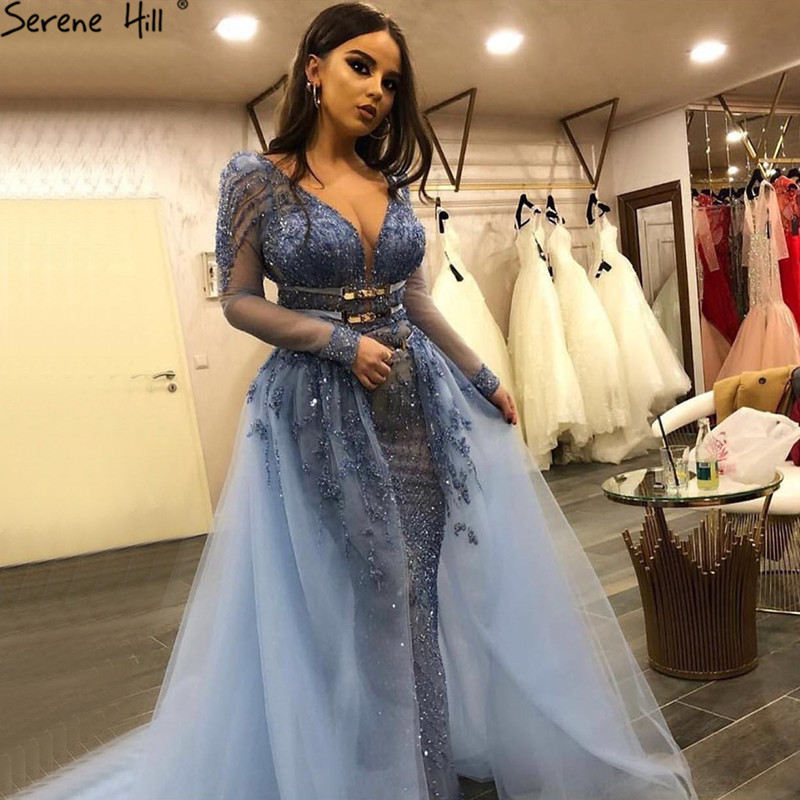 Blue Dubai Luxury Sequined Sparkle Evening Dresses 2019 V-Neck Long Sleeve Beading Evening Gowns Serene Hill LA60858