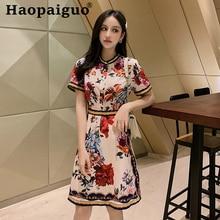 Korean Style Summer Elegant Dress for Women Short Sleeve Corset Print Floral Ladies Empire Vintage Robe