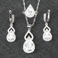 Sonderangebot AAA + Pure White Luxus CZ 925 Sterling Silber Schmuck Sets Ohrringe/Anhänger/Halskette/Ringe für Frauen