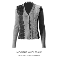 Lace Patchwork Stylish Women Sweater Knit Coat Gray V Neck Wool Knitwear Female Casual Sweater Cardigans
