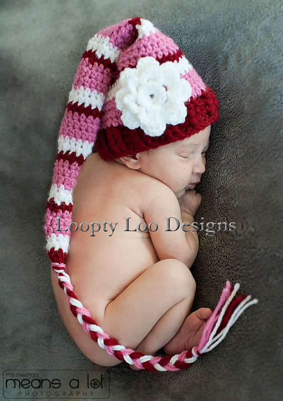 a8c1e9411 US $6.93 30% OFF|Free shipping Baby Girl Crochet Hat Stocking Hat w/ Flower  Elf Hat Newborn Photo Prop Infant Christmas hat NEWBORN TO 12 MONTHS-in ...