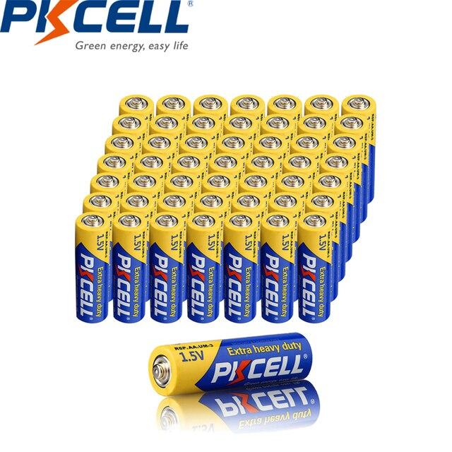 50PCS PKCELL AA 배터리 1.5V aa 슈퍼 헤비 듀티 탄소 아연 배터리 aa R6P UM 3 배터리 장난감, 카메라, 레이저, flashligh