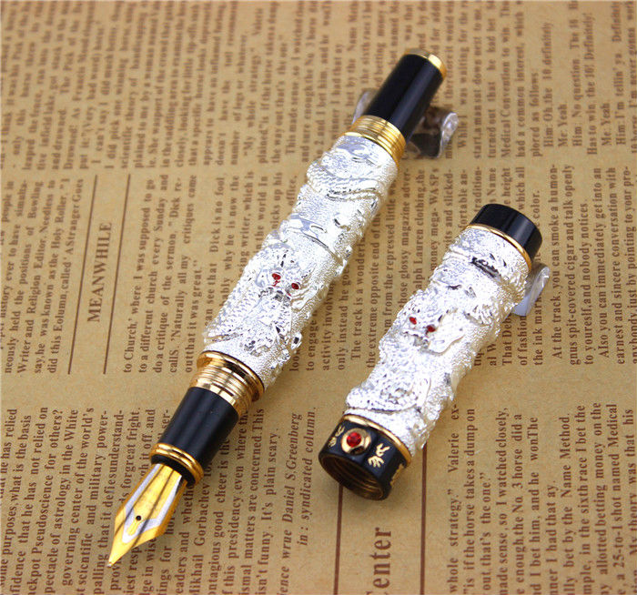 JINHAO fountain pen unique design High quality dragon pens luxury business gift school office supplies send father friend 009 black jinhao free shipping fountain pen and bag high quality man women pens business school gift send friend father 031