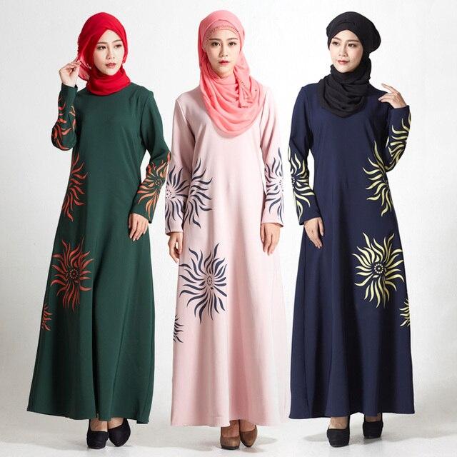 91c2952aee Ropa hijab musulmanes vestido fotos abaya árabe islámico largo impreso  vestido turco moda tradicional árabe vestido