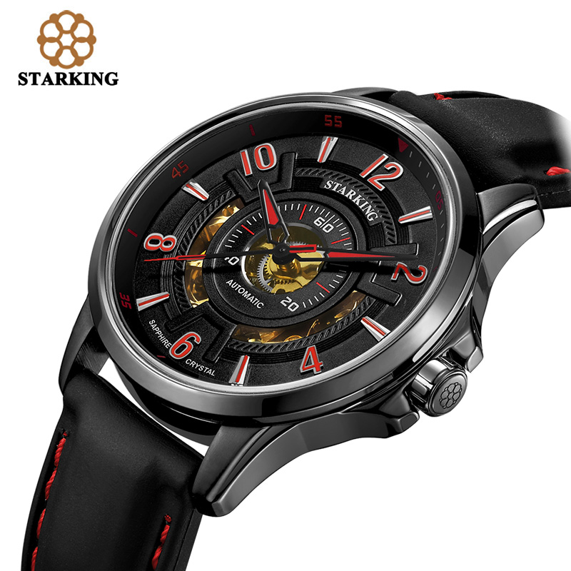 STARKING 2017 Top Brand Luxury Men Watches Mechanical Tourbillon Watch 5ATM Male Clock Silicone Sport Relogio Masculino AM0237