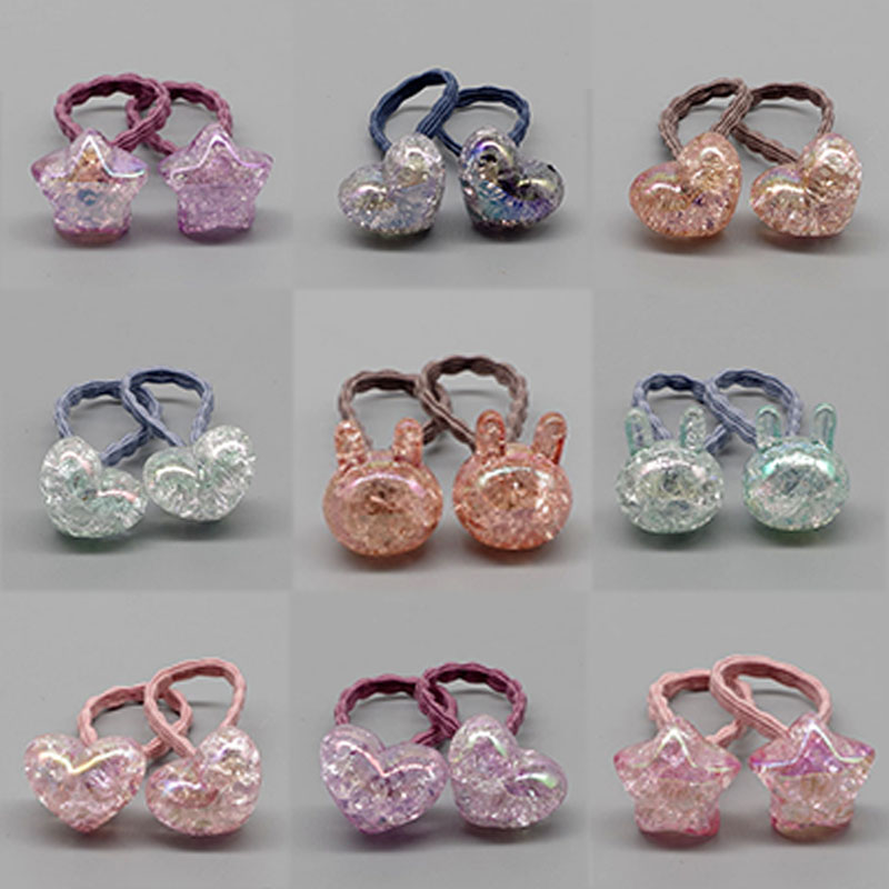 1Pair New Cute Elastic Hairbands Hair Accessories Allergy Free Elasticity Bunny Star Princess Dog Headwear image