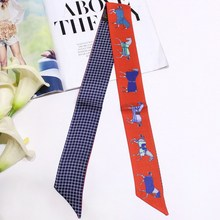Horse Skinny Scarf Women Ribbon Female Brand Design Printing Headband Hairband Neck Head 88*5cm