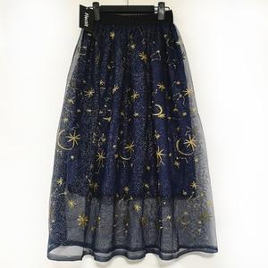 Image 2 - Flectit Gold Moon Star Embroidered Tulle Skirt Vintage Semi Sheer Fabric High Waist Pleated Midi Skirt For Women Ladies