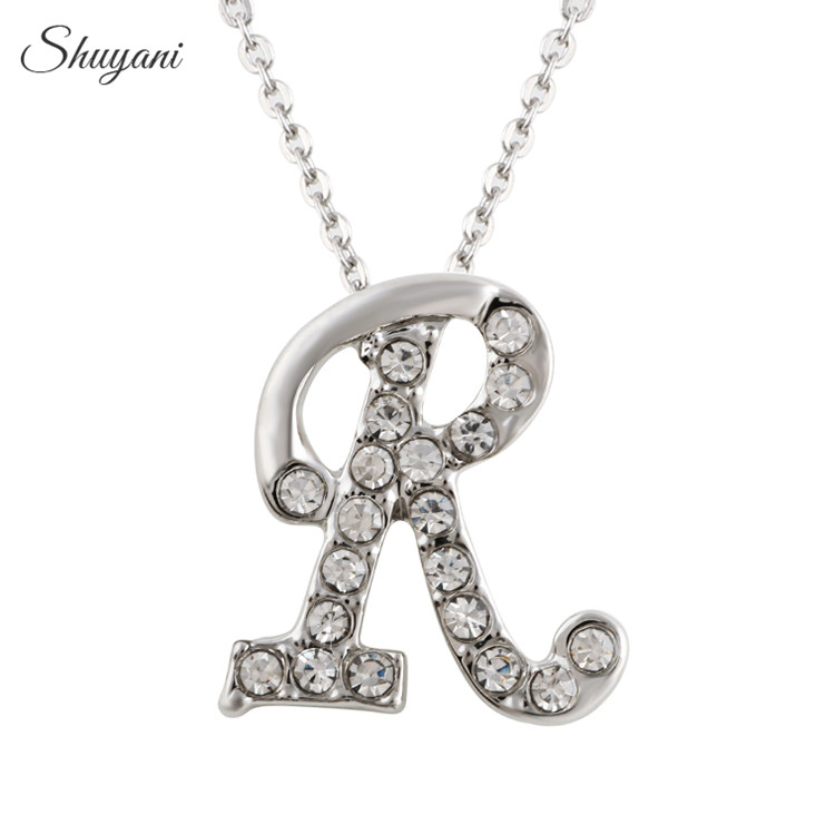 Shuyani Small Letter Charms Necklace Crystal Initial R