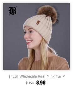 [FLB] Wholesale Real Mink Fur Pom Poms Knitted Hat Ball Beanies Winter Hat For Women Girl 'S Wool Hat Cotton Skullies Female Cap 15
