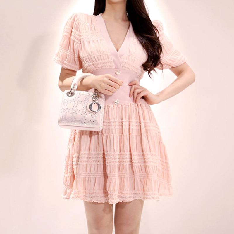 Fashion Women Comfortable Elegant V-neck Mini Formal Dress New Arrival Sexy Vintage Classical Pink Beach Trend A-line Dress