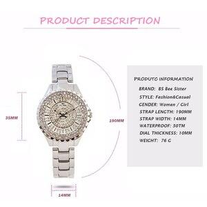 Image 2 - Женские кварцевые часы BS, модные роскошные женские наручные часы с кристаллами и стразами, золотые часы браслет