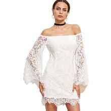 Spitze Stickerei Blume Weg Von der Schulter Sommer Sexy Club Frauen Kleid  Langarm-boot-ausschnitt Mini Bodycon Weiß Party Kleide. 0b409a4ea9
