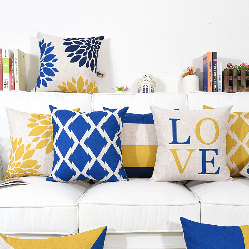 Wholesales Cushion Cover Blue Yellow Geometric Floral Stripe pillow case Throw decorative cushion covers 45cm*45cm/60*60cm