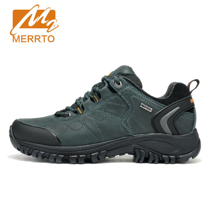 MERRTO 2018 Outdoor Waterproof Hiking Shoes For Men Genuine Leather Hiking Boots Mens Waterproof Trekking Shoes Walking Sneakers yin qi shi man winter outdoor shoes hiking camping trip high top hiking boots cow leather durable female plush warm outdoor boot