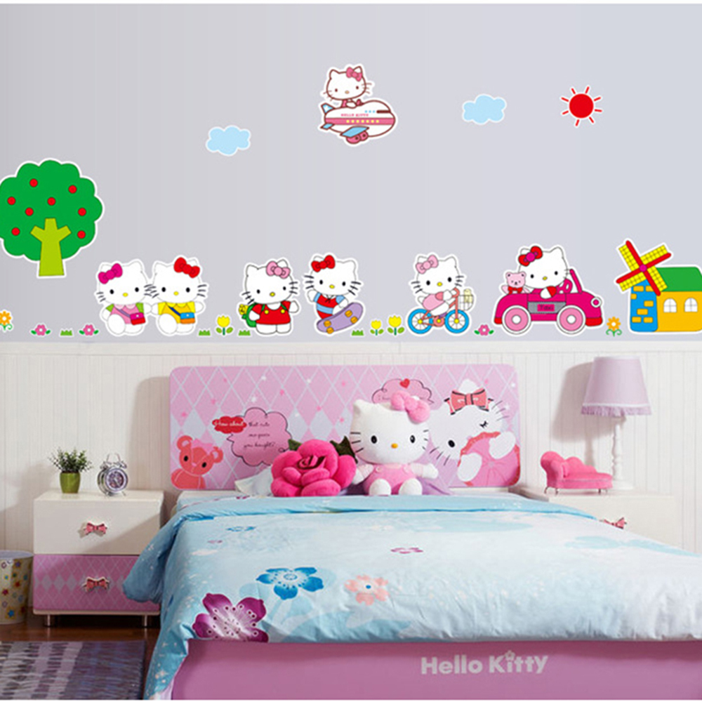 Hello kitty bedroom wall stickers - New Arrival Decoration Wall Stickers Hello Kitty For Kids Rooms Girls Decor Cartoon Art Decal Vinyl