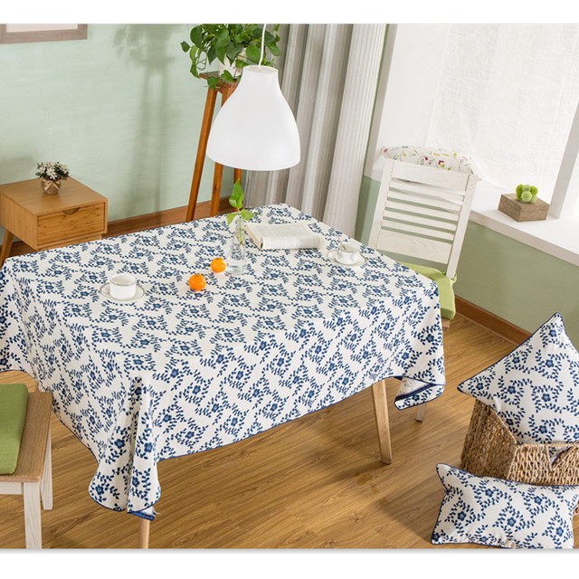 Spring New Design Elegant Cotton Tablecloth Printed Floral Table Cloth  Covers Runners Hot Sale Home Textile