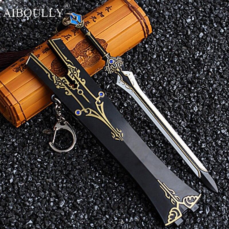 17cm Sword net around three Knight errant love three Three sword net Pure Yang snow weapons alloy sheath cosplay model toys