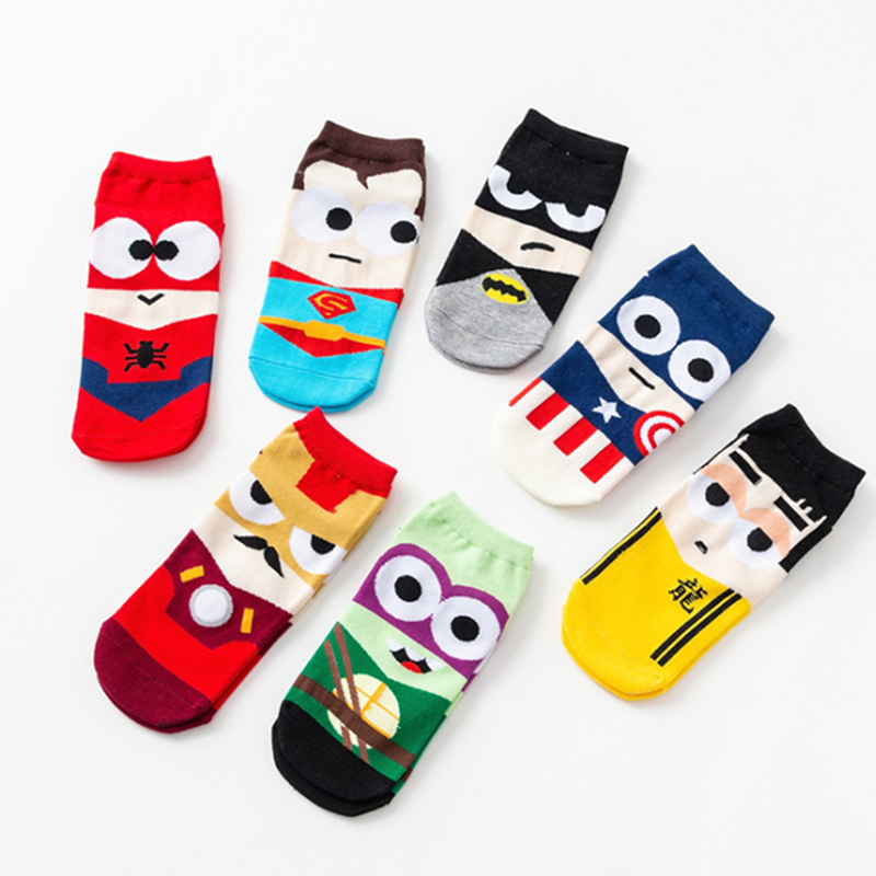 2019 Hot Women Socks Cotton Superman SpiderMan Captain America Avenge Men Male Short Sock Colorful Breathable Cartoon Socks