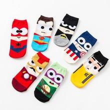 2019 Hot Women Socks Cotton Superman SpiderMan Captain America Avenge Men Male Short Sock Colorful Breathable Cartoon