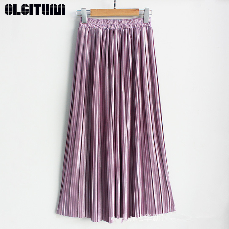 New 2019 Summer Pleated Skirts Women Ankle-length A-line Metal Light Silk Long Solid Women Metallic Skirt