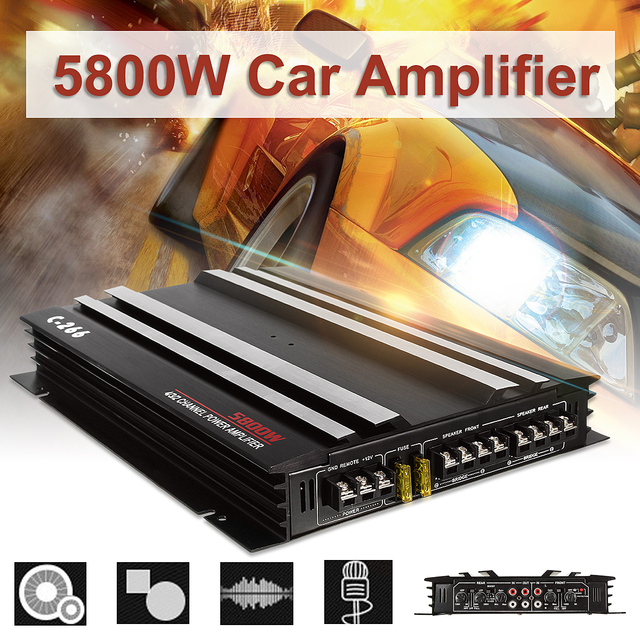 Special Offers KROAK 13.8V 5800W Car Amplifier Audio Power Stereo 4/3/2 Channel Powerful Aluminum Alloy Car Sound Amplifiers Black