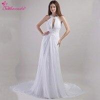 Alexzendra White Halter Up A Line Chiffon Pregnant Wedding Dress Vestido De Noiva Wedding Bridal Gown Plus Size