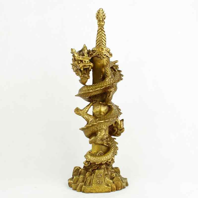 Copper Dragon a double-edged sword decoration Brisk business flourish Chinese dragon geomancy Classical statue crafts figurine