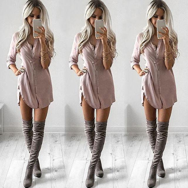 Womens Long Sleeve Shirt Casual Blouse Loose Summer Fashion Cotton Tops Shirt 5