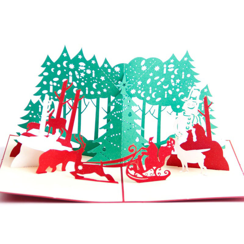 Us 2 66 5 Off 3d Laser Cut Handmade Christmas Cartoon Carnival Paper Invitation Greeting Cards Postcard Kids Merry Christmas Creative Gift In Cards