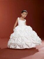 Całkiem Biały Satin Aplikacja Koraliki Flower Girl Dresses Księżniczka Sukienki Korowód/Party Dress Custom Made Rozmiar 2-14 B503106
