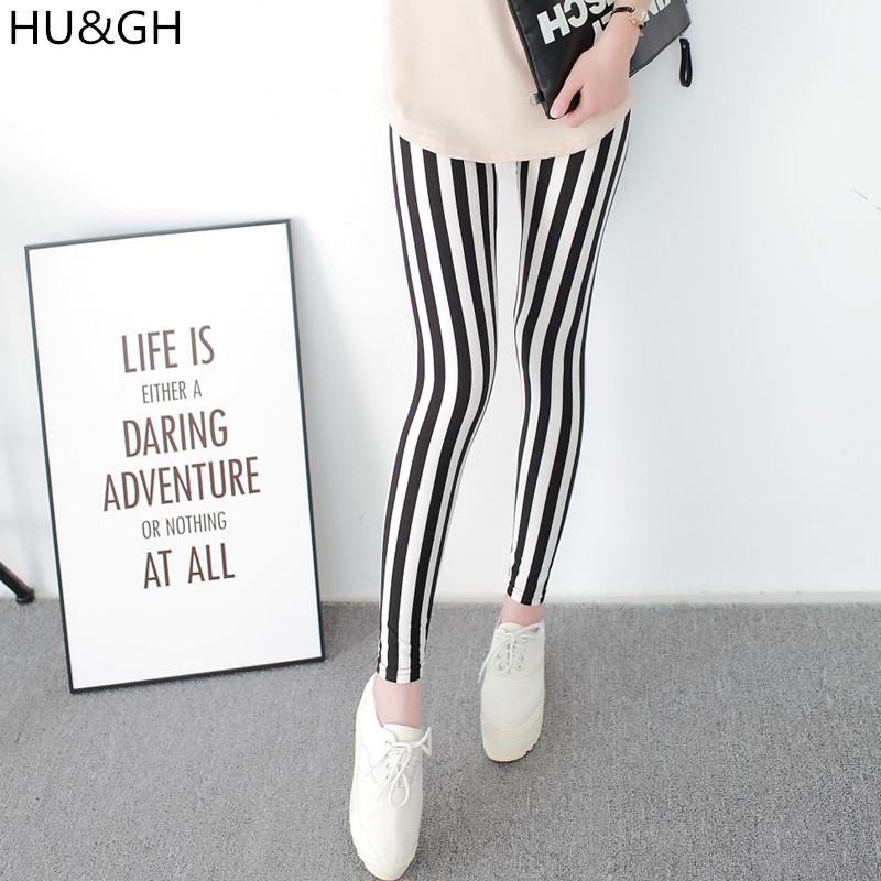 HU&GH Black and White Vertical Striped Printed Women Leggings Fashion Casual Elasticity Ankle-Length Pant Female Fitnes Legging Лосины
