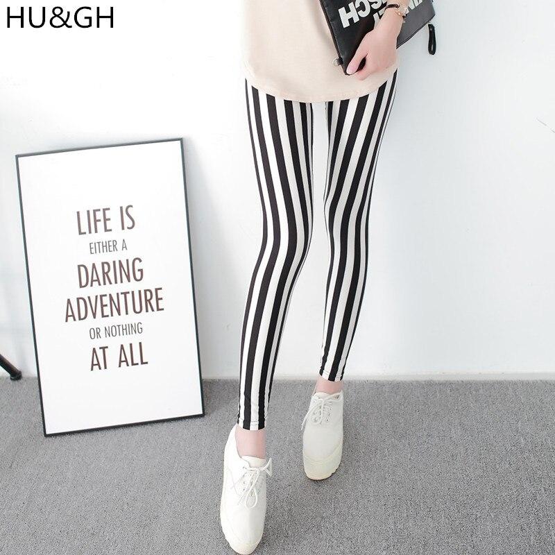 Noir et Blanc À Rayures Verticales Imprimé Femmes Leggings Mode décontracté Élasticité Cheville Longueur Pantalon Femelle Fitnes Legging