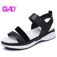 GAD High Quality Split Leather Women Sandals Fashion Hook Loop Women Wedges Sandals Durable Non Slip