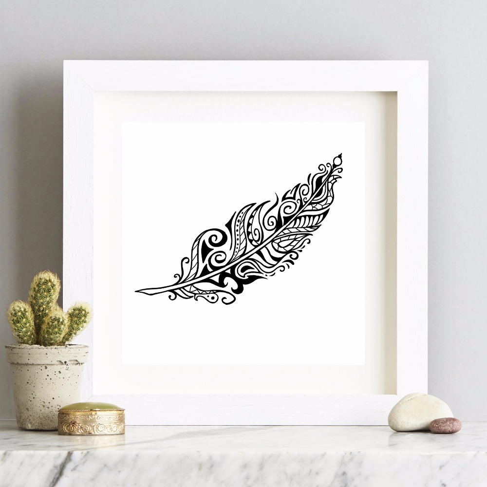 Black and White Bird Feather Canvas Art Print Painting Poster Wall Pictures For Living Room Home Decorative Wall Decor No Frame in Painting Calligraphy from Home Garden