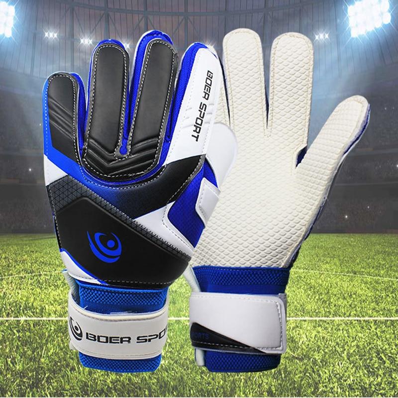 Professional Teenager Men\'s  Goalkeeper Anti-skid 5 Finger Protection Gloves Thickened Latex Soccer Football Goalie Goal Gloves