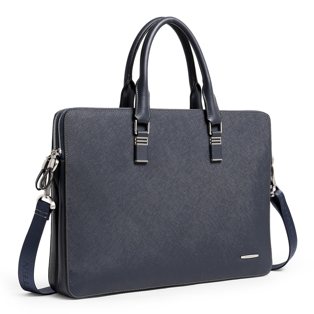 D'épaule Portable blue Men En Pour Fourre Des Ordinateur Hommes Véritable 5 Briefcase Main Pouces 16 À Cuir tout Porte Sac Briefcase Black Bandoulière D'affaires documents Bostanten IS6PBI