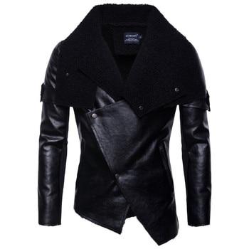2019 New Men Autumn Fashion Punk Leather Jacket Casual Motorcycle Leather Jacket Male Coat Personality Lrregular Leather Jacket