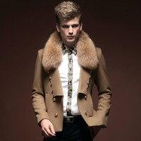 Free Shipping New fashion male Men's winter fall winter short short big coat design coat big wave 14057 On sale fanzhuan