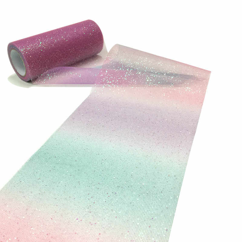 10Yard/roll Rainbow Glitter Tulle Roll Sequin Crystal Organza Sheer Fabric DIY Craft Gift Tutu Skirt Home Wedding Decoration