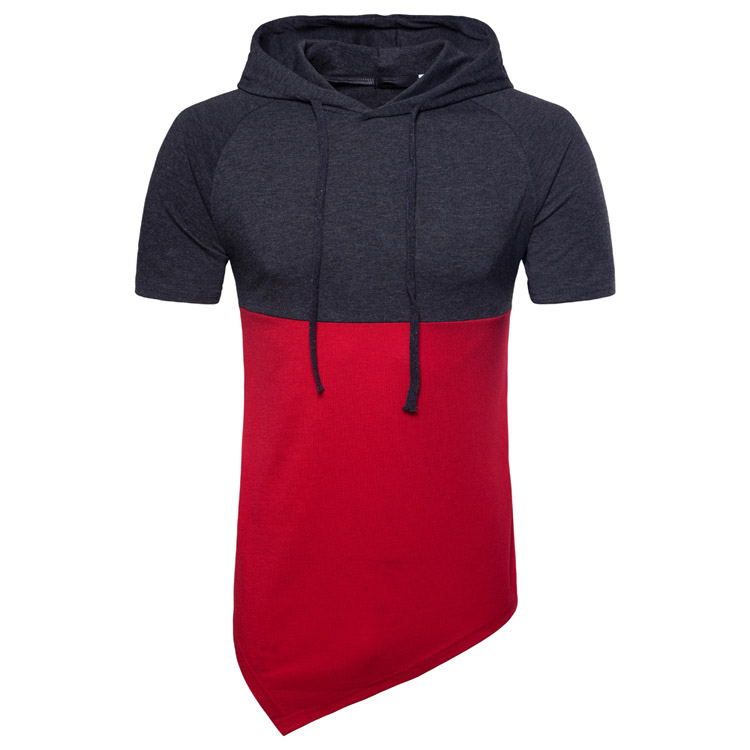 HOT 2018 Outdoor Spring/summer man irregular color matching hooded short sleeve hip hop British red mens Exercise Sweaters