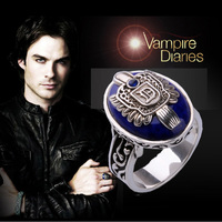 Customize Vintage Vampire Diaries Ring Salvatore Family Damon D Black Onyx Stefan S 925 Blue Lapis Silver Rings for Men Cosplay