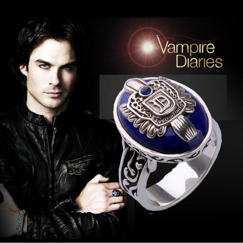 Personalizar el anillo de los diarios del vampiro de la vendimia de la familia de los salvadores Damon D ónix negro de los anillos de plata del lapisón azul 925 para los hombres cosplay-in Anillos from Joyería y accesorios    1