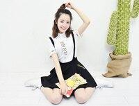 Harajuku Usura Della Ragazza Cortile Gatto Shirt + Gonna Con Spallacci A due Pezzi Set Super Soft Adorabile Donne Carino set