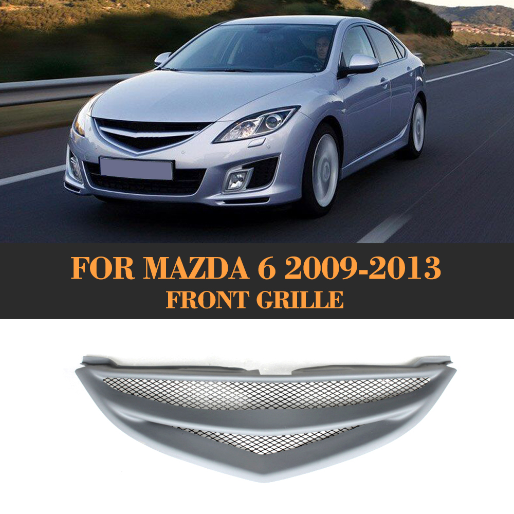 Grey FRP Car Grills Front Bumper Grill Grille For Mazda 6 Sedan 4 Door Only 2009 - 2013 GS GT I S stainless steel car racing grills for mazda cx 5 2013 2016 front grill grille cover trim car styling
