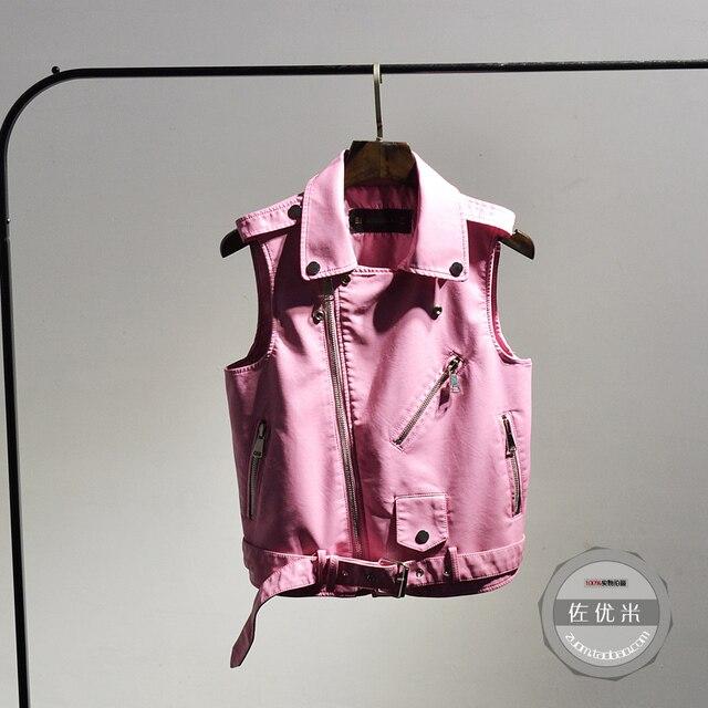 2016 Solid Rushed Vest Fashion Regular Women Vest 2017 New Skin Slim All-match Sleeveless Coat Jacket Pu Leather Locomotive