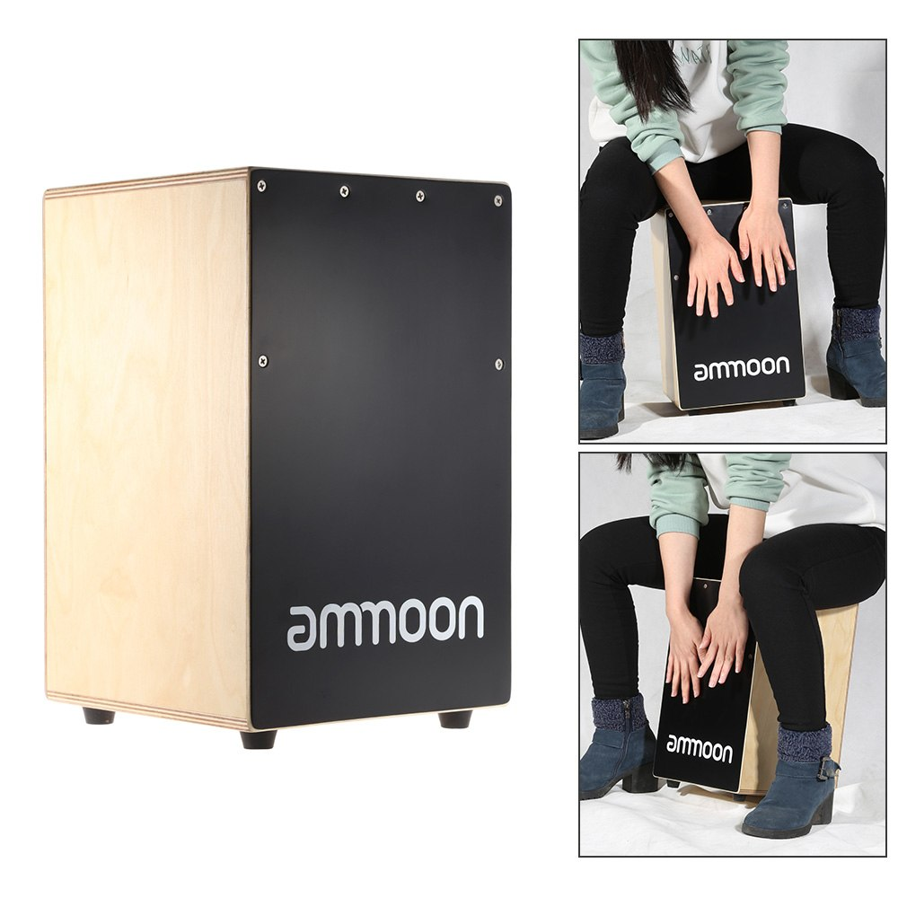 ammoon Wooden Cajon Hand Drum Children Box Drum Persussion Instrument with Stings Rubber Feet 23 24