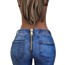 Vintage ladies new 2018 tight-fitting hip zipper sexy trousers jeans hot plus Size Boyfriend Jeans for Women
